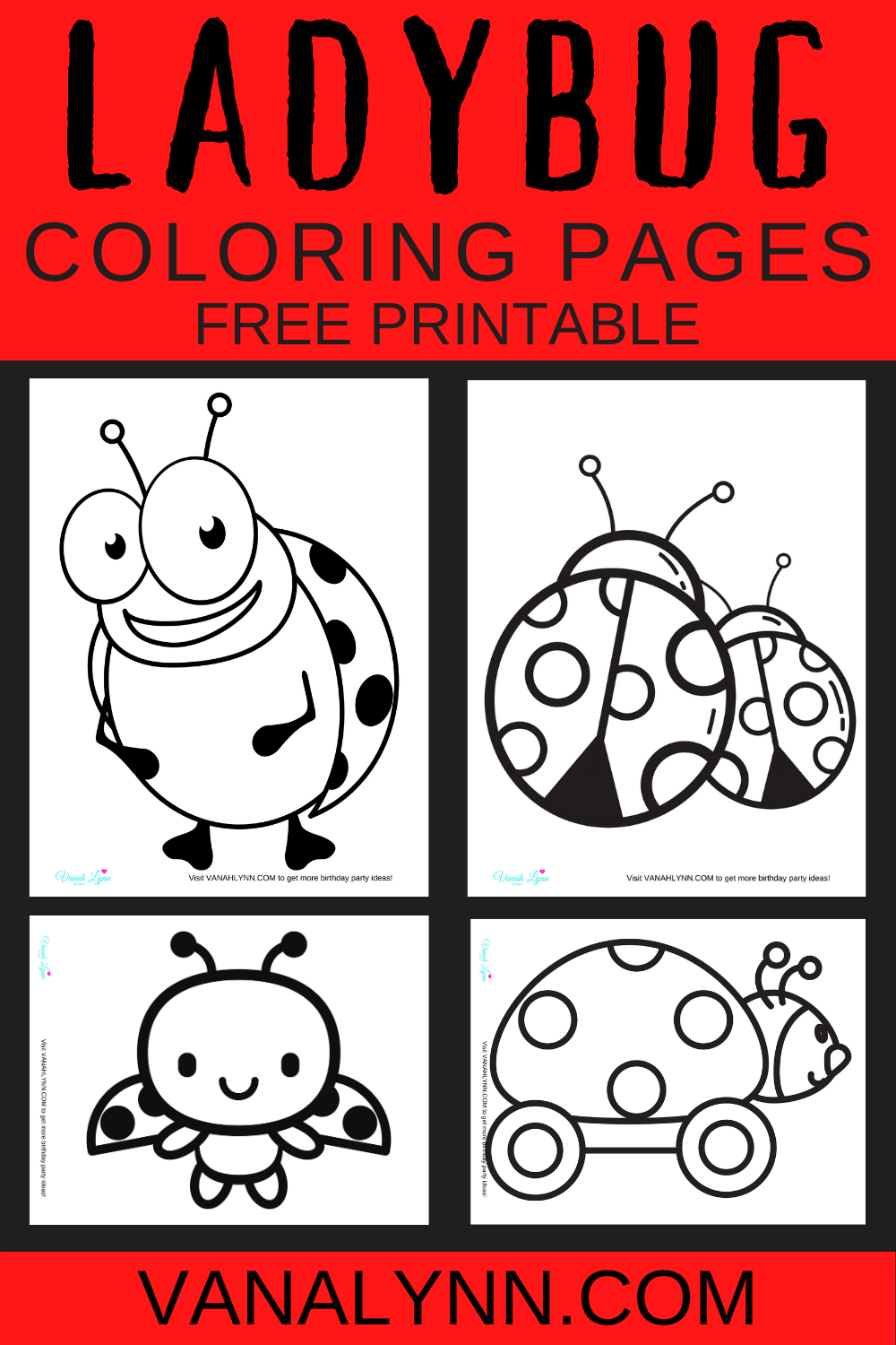 ladybug birthday party activity sheets for kids