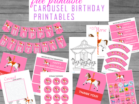 Carousel Party Kit | Free Printable Carousel Birthday Party Ideas | Free Carousel Party Decorations