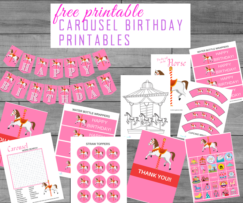 free printable carousel birthday party kit