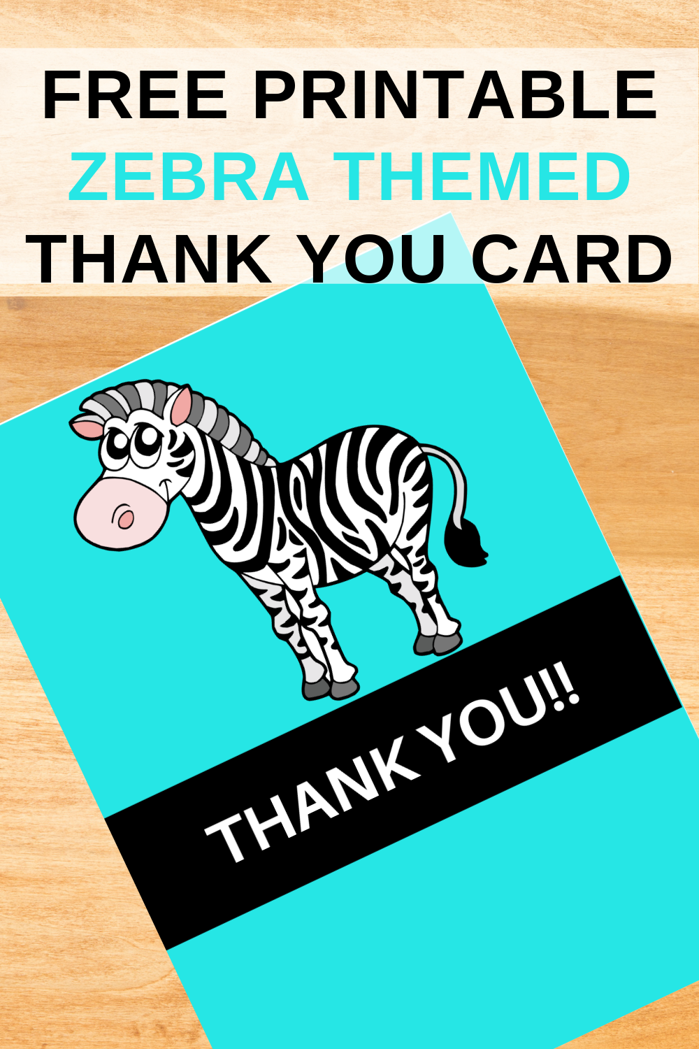 first birthday party girl, zebra thank you note