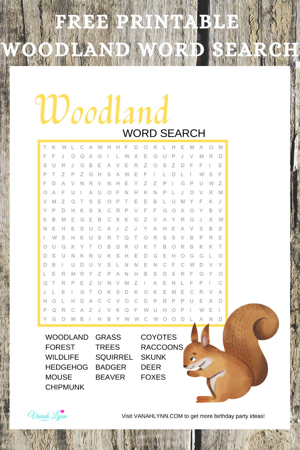 free download: rustic animal word search for child