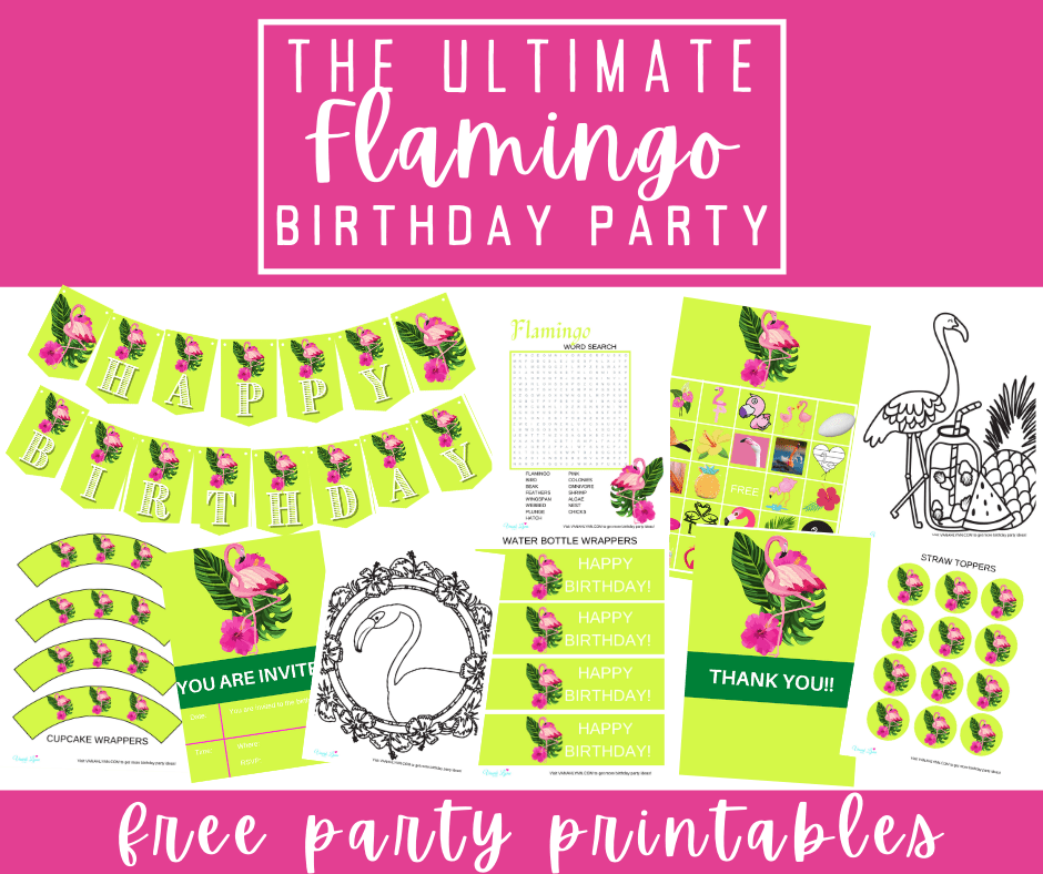 flamingo birthday party theme printables