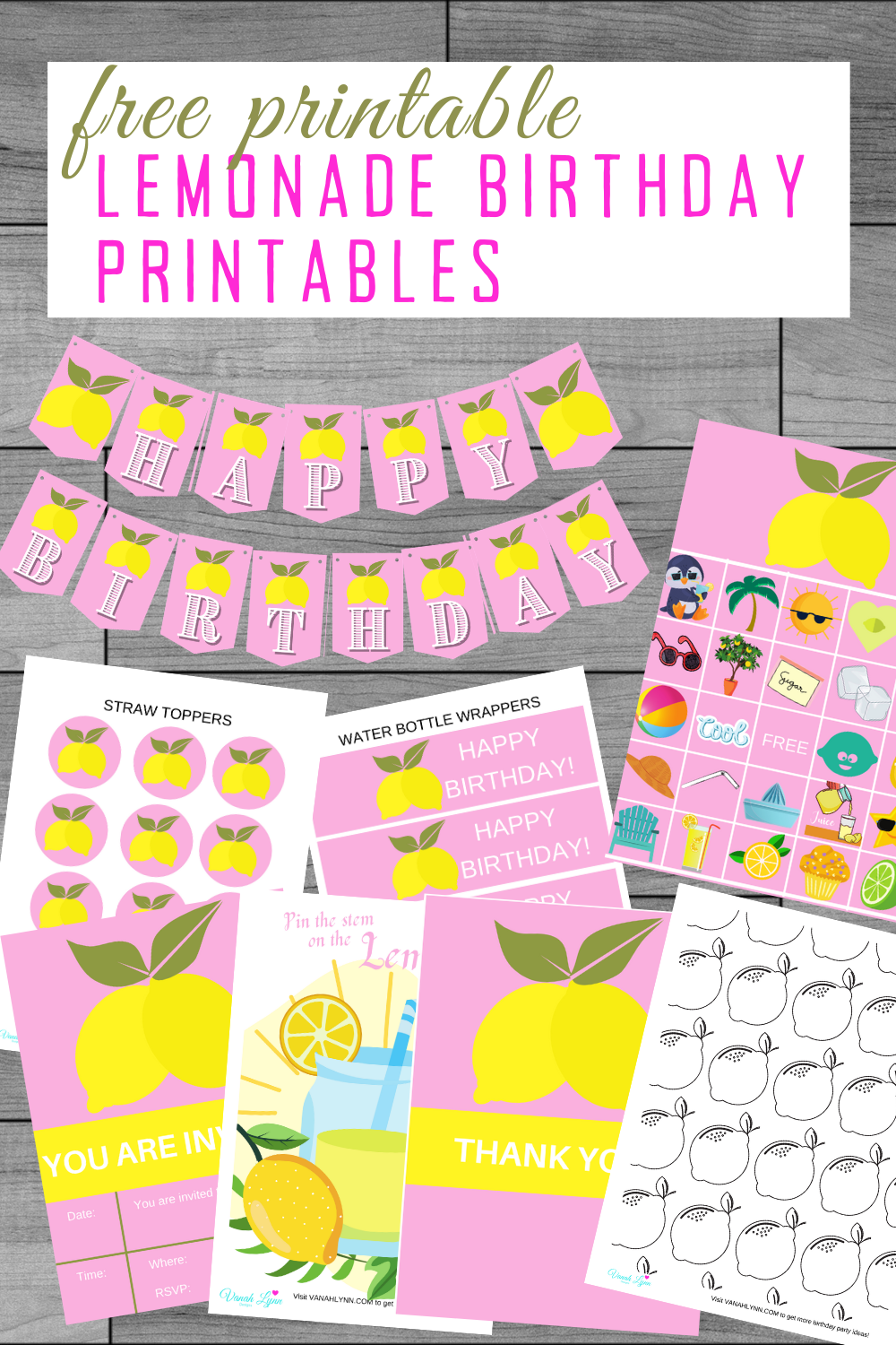 free printable pink and yellow party kid