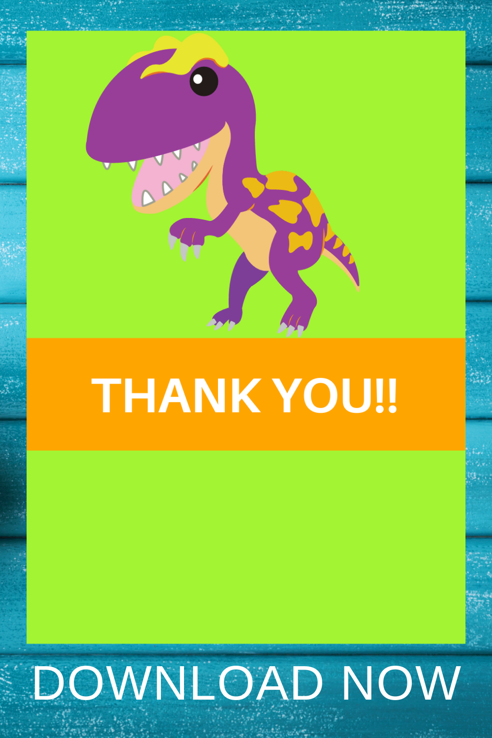 1st birthday dinosaur thank you card for toddler