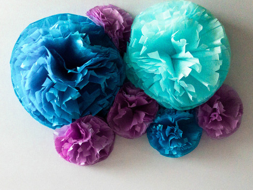 Tissue Paper Flowers DIY | Step By Step | Mermaid Birthday Decorations DIY | Tissue Paper Pom Poms