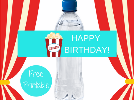 Carnival Water Bottle Label | Free Printable Popcorn Birthday Party Ideas | DIY Carnival Decorations