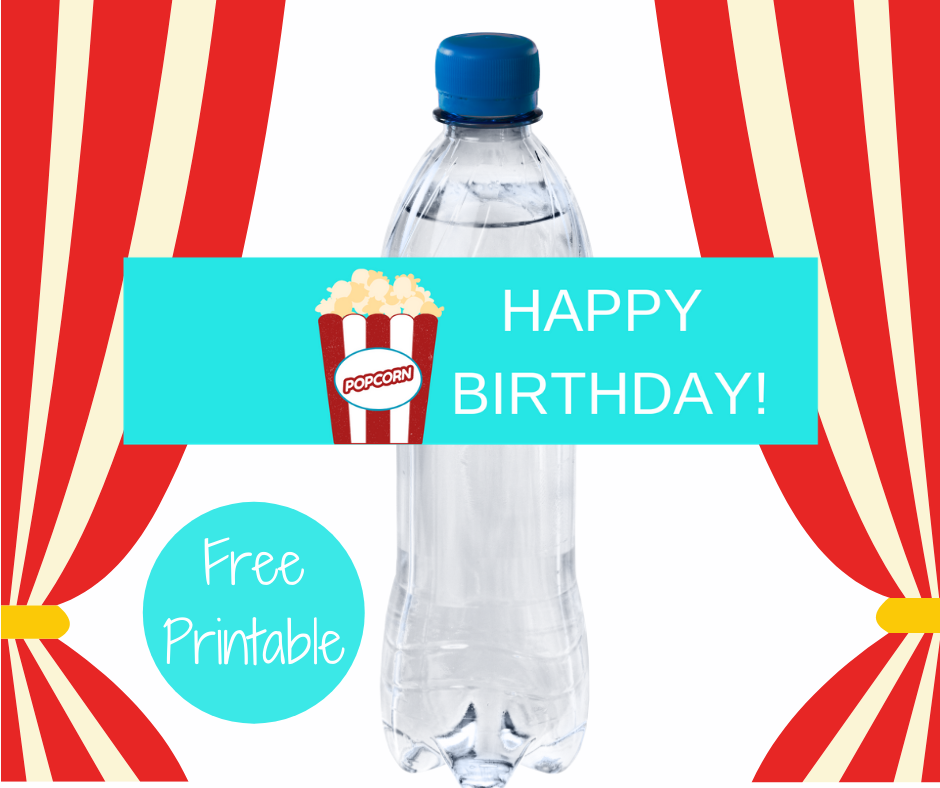 carnival themed water bottle label for birthday party