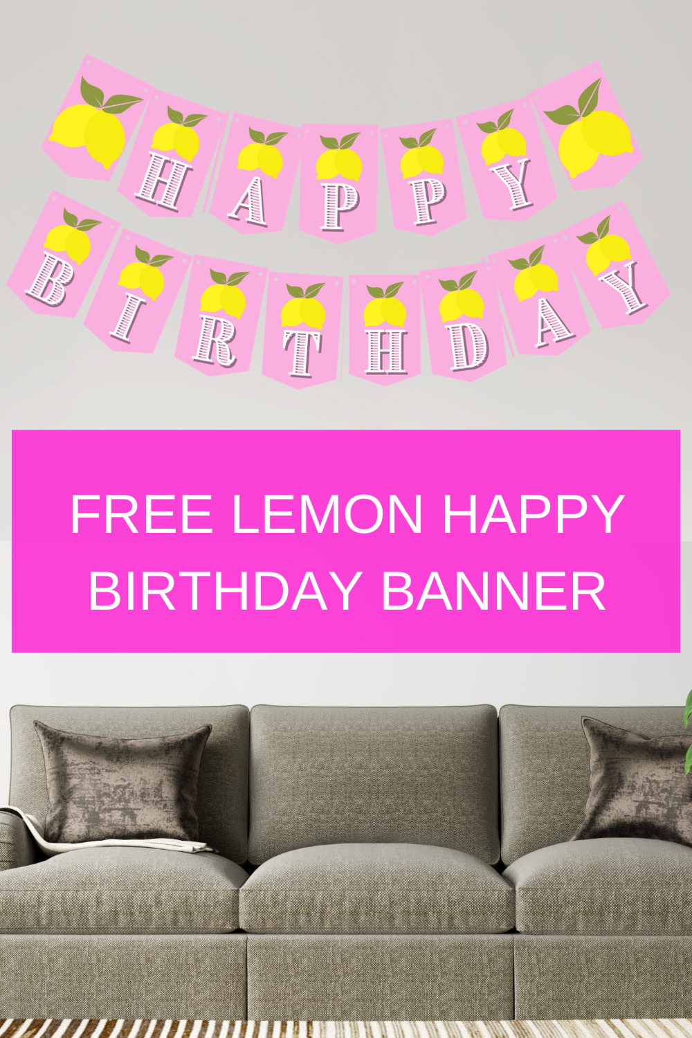 pink and yellow lemon banner for birthday party