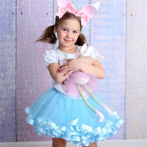 light blue tutu skirt on little girl