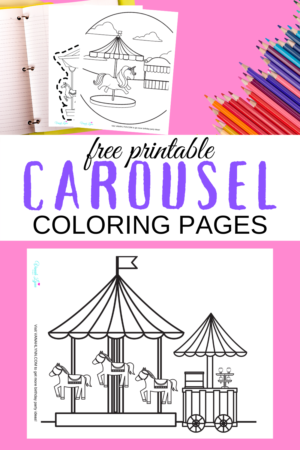 free printable carousel coloring pages for a small child