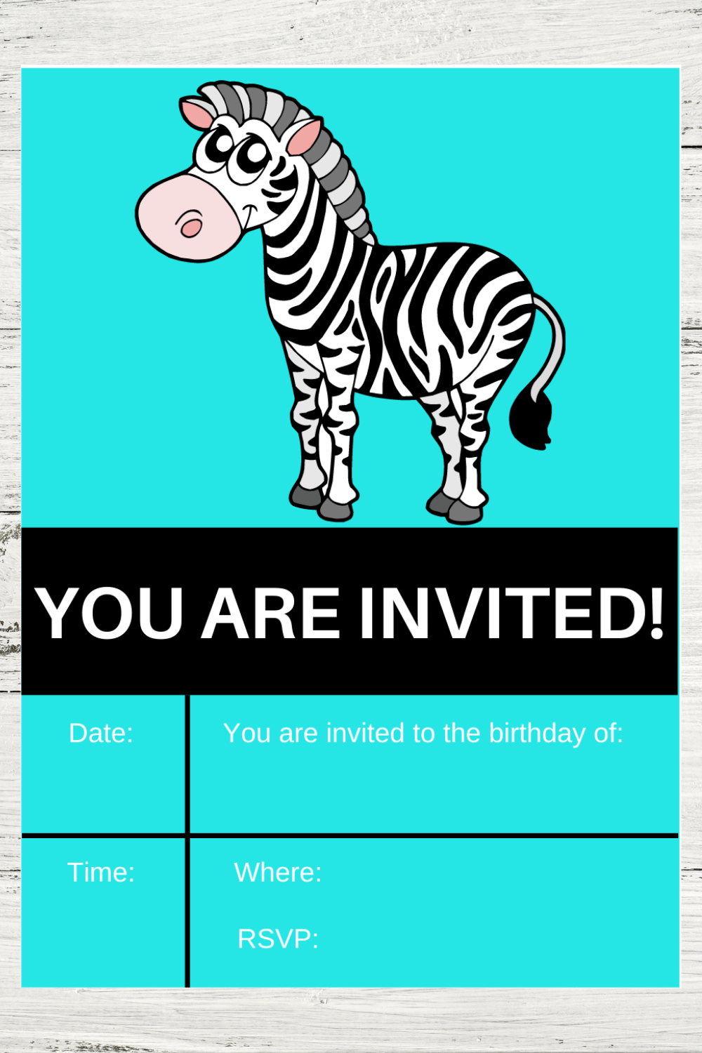 first birthday party zebra invitations for a little girls birthday party