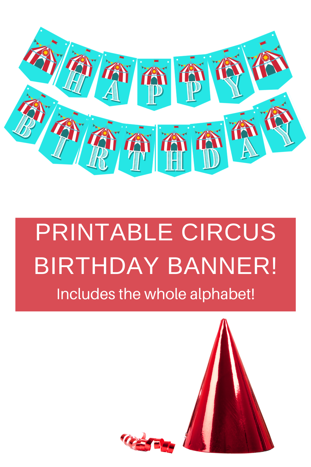 Circus tent birthday banner for little girls 1st birthday
