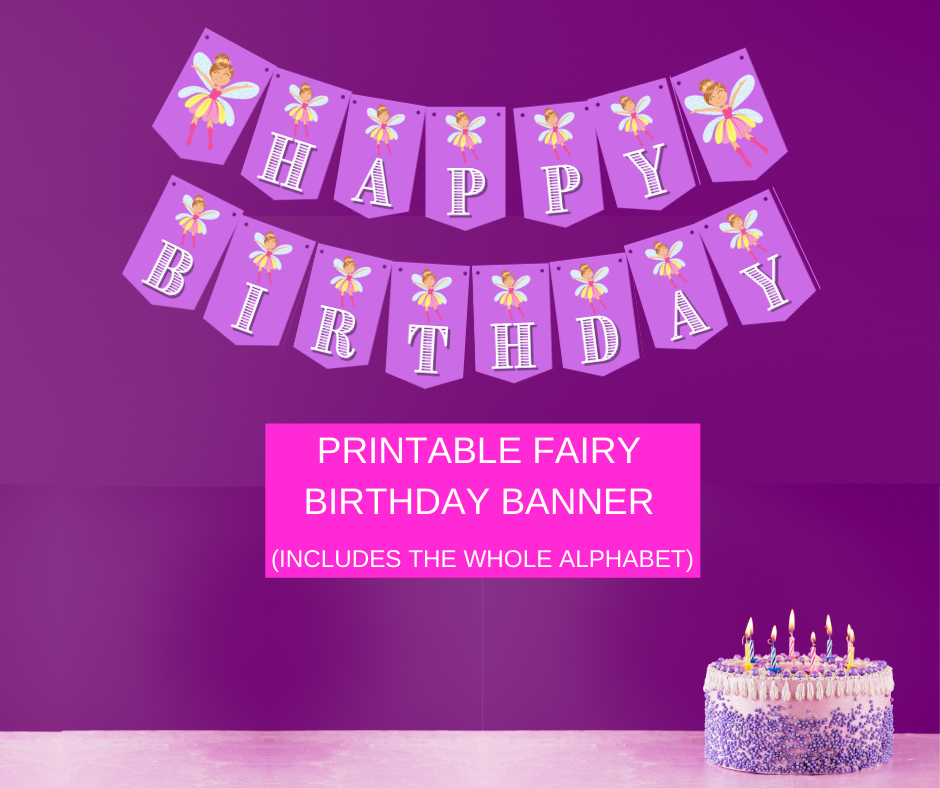 fairy garden birthday party banner for 1st birthday