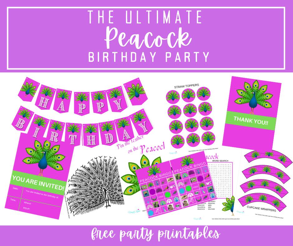 peacock birthday party printables