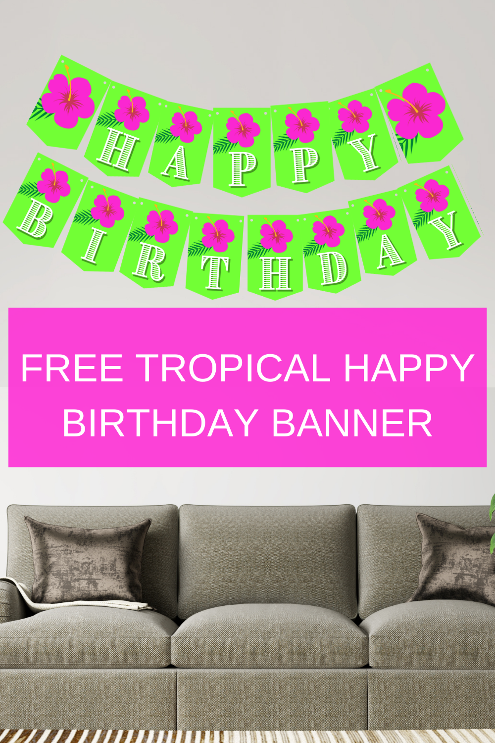 tropical birthday banner for a 1st birthday party