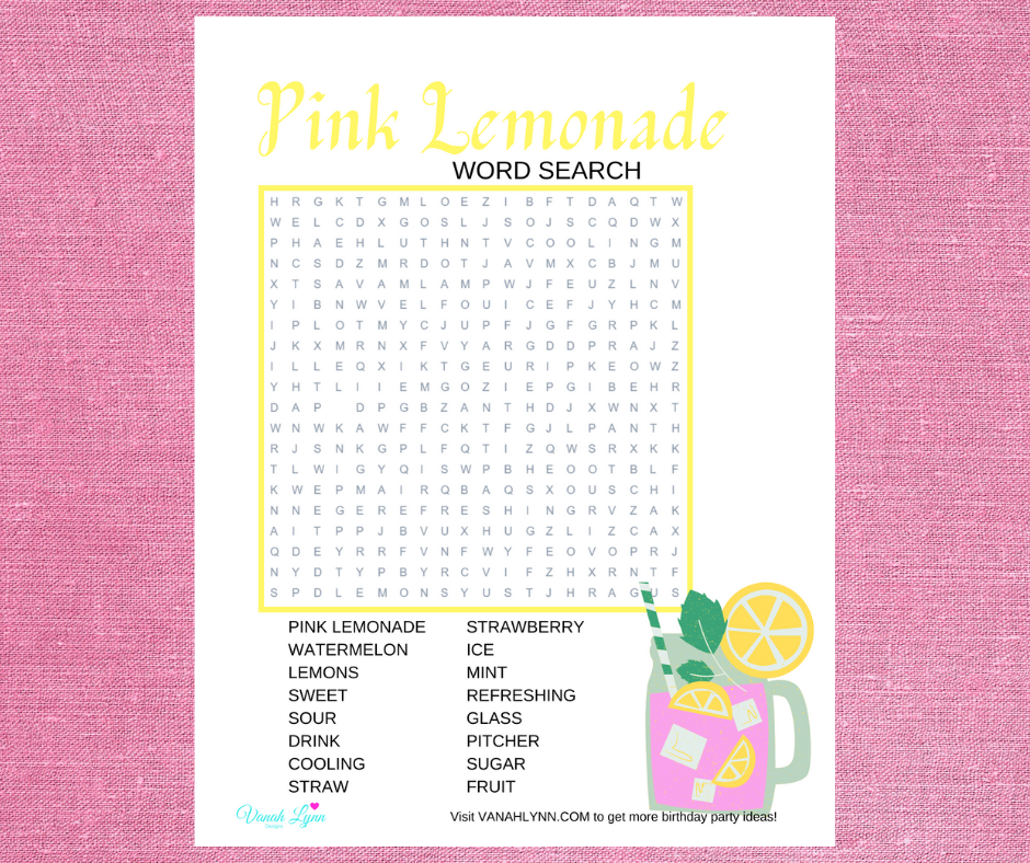 pink lemonade word search for a kids birthday party