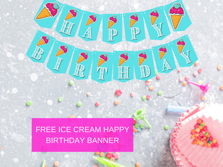 Ice Cream Happy Birthday Banner and Ice Cream Alphabet Banner | Ice Cream Themed Party Decorations