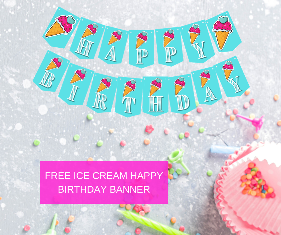 Ice Cream birthday party banner for 1st birthday