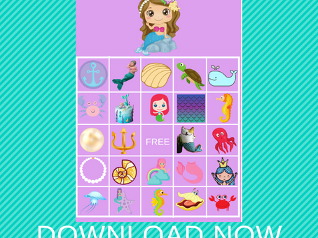 Mermaid Bingo | Mermaid Themed Party Game Idea | Mermaid Birthday Party Activity