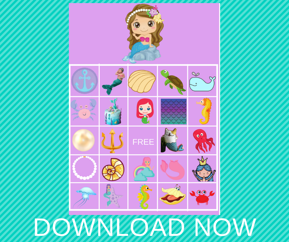 Mermaid themed BINGO game for a birthday party