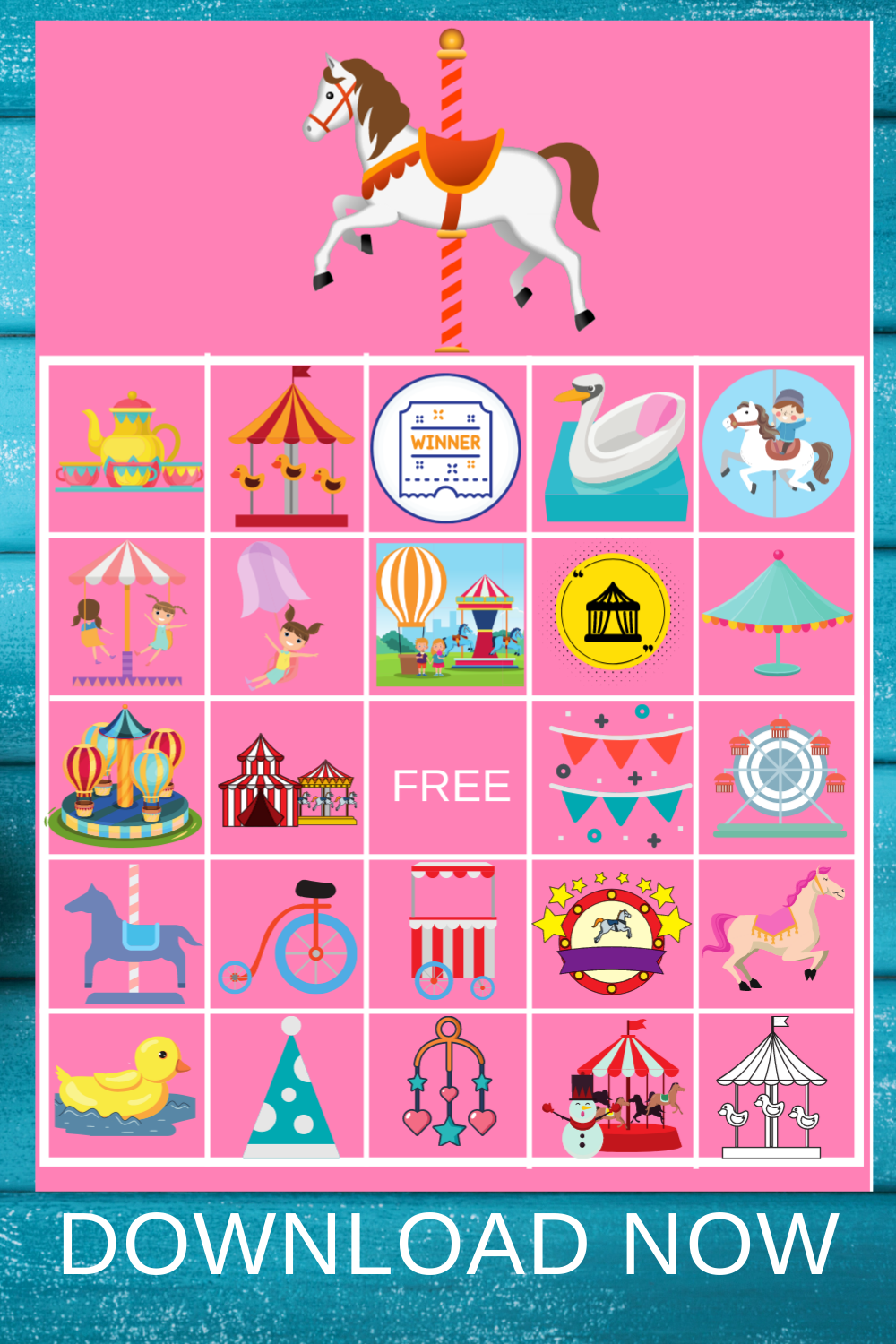 1st birthday carousel bingo games
