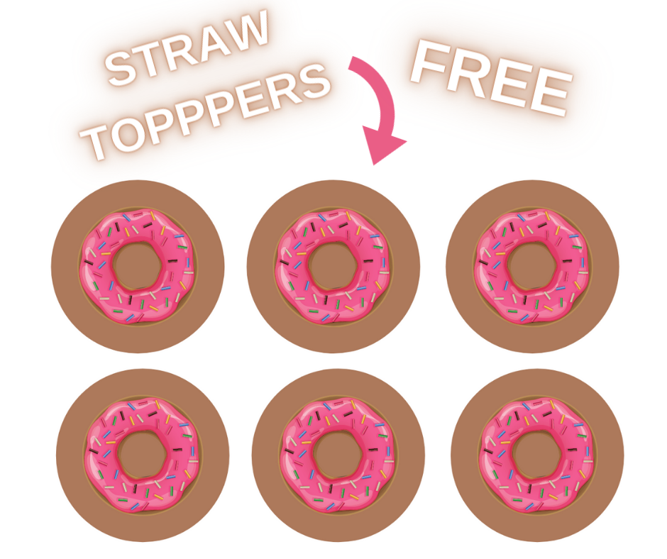 free printable donut straw toppers