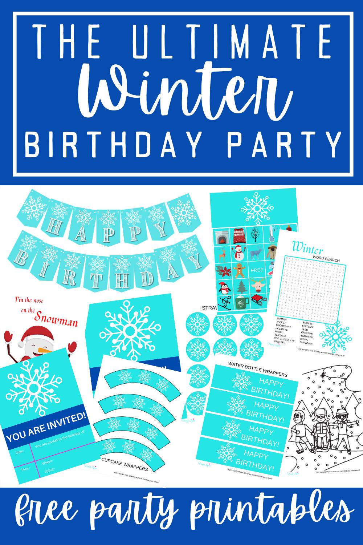 free printable ice princess party kit