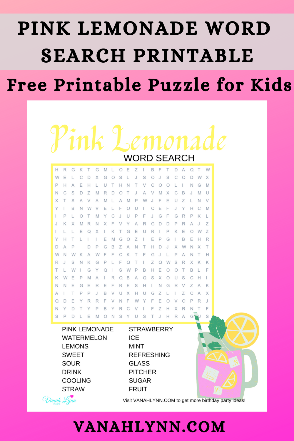 pink lemonade party game ideas for little kids