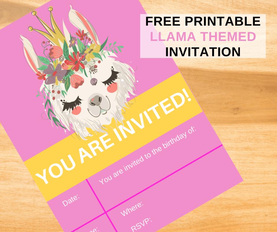 llama birthday invitations free