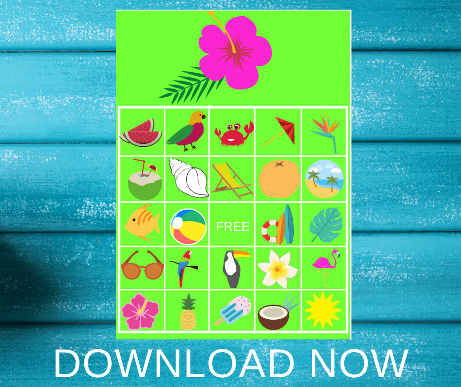tropical bingo game for a tropical birthday party