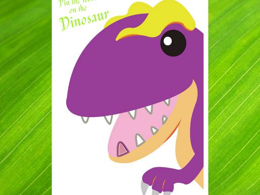 Pin the Tooth on the Dinosaur | Dinosaur Birthday Party Game | Dinosaur Party Activity Ideas