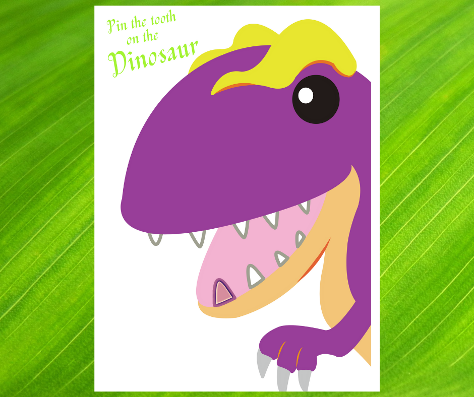 free printable pin the tooth on the dinosaur birthday game