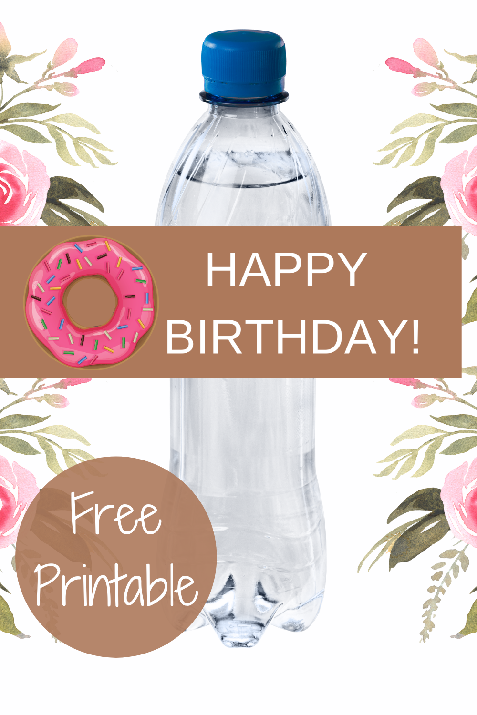 donut first birthday birthday party water bottle label