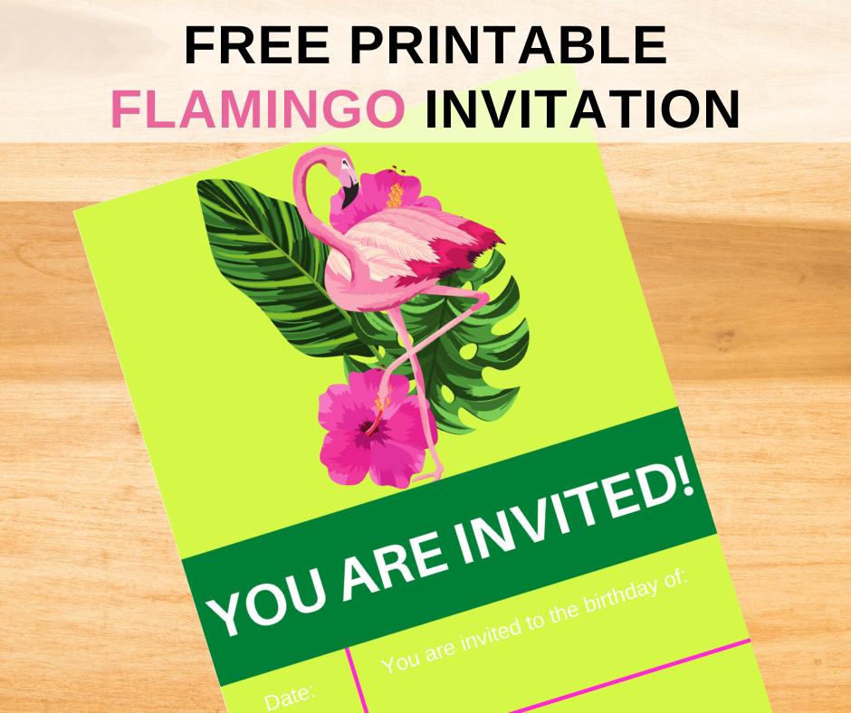 tropical flamingo birthday party invitation