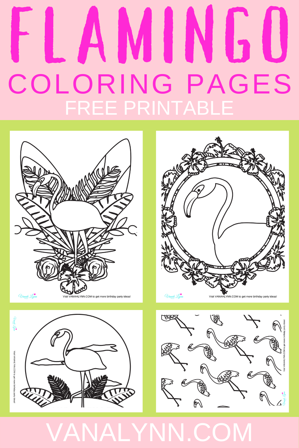 tropical flamingo birthday party activity sheets