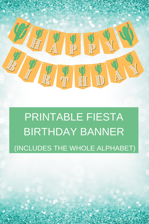 "cactus banner, says ""happy birthday"" free printable"