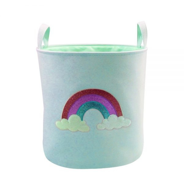 light blue rainbow themed laundry hamper