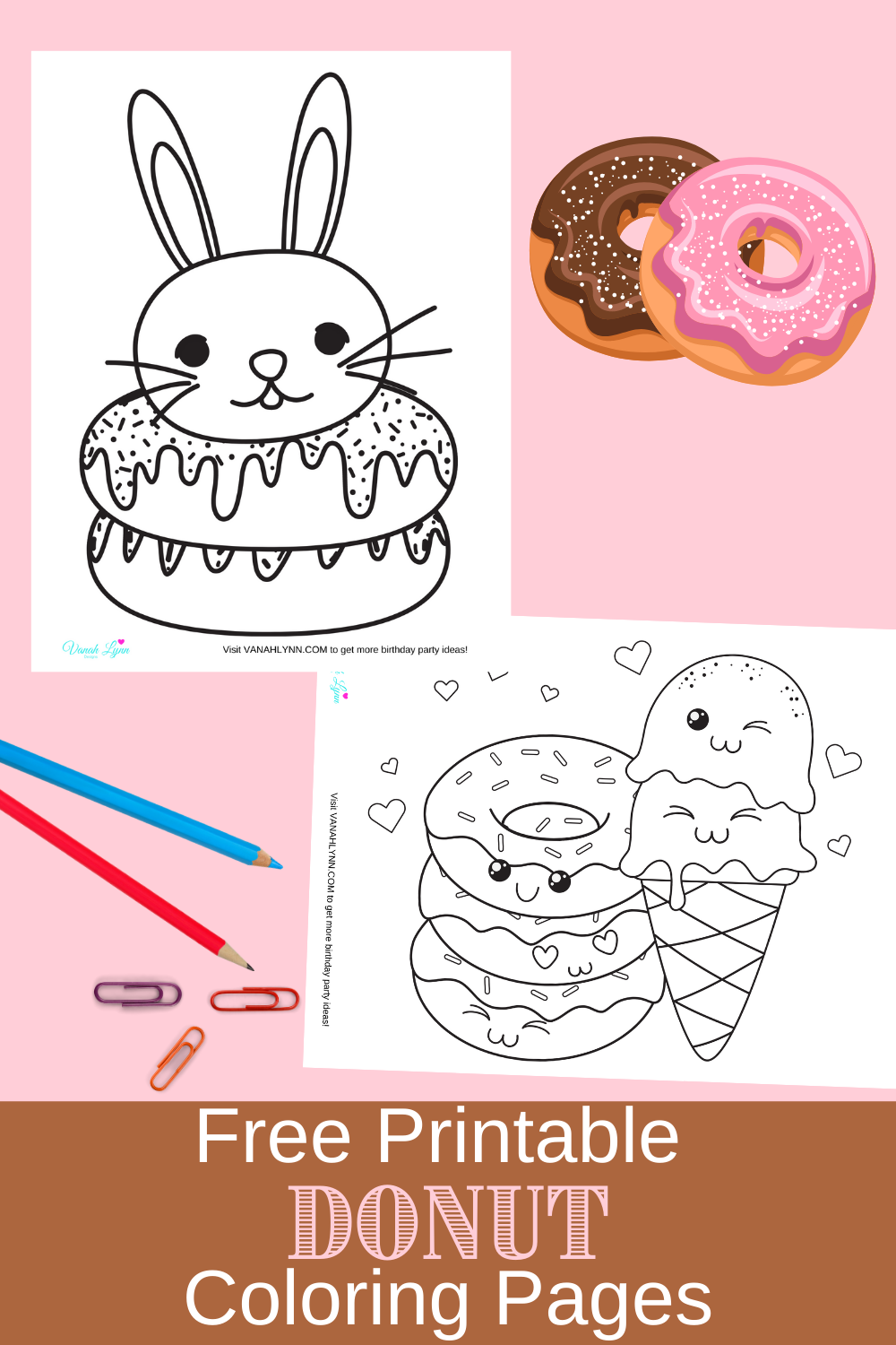 free printable donut coloring pages for a birthday party