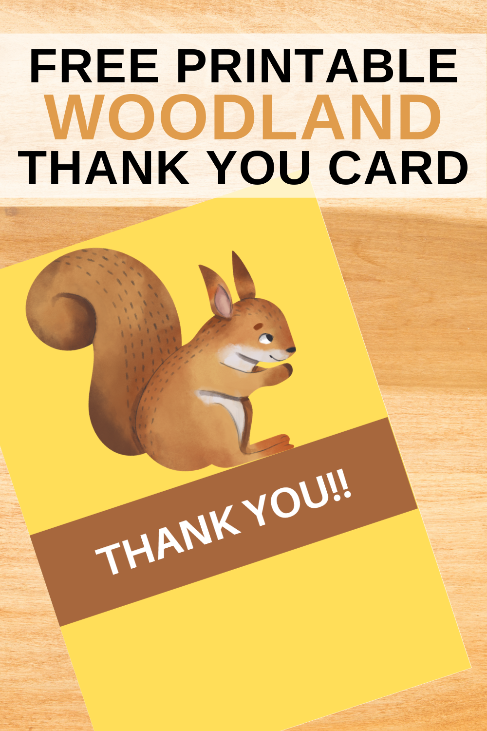 first birthday woodland thank you note for toddlers