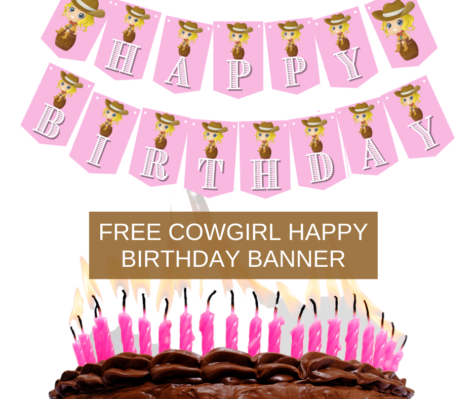 Cowgirl themed birthday banner, for little girl