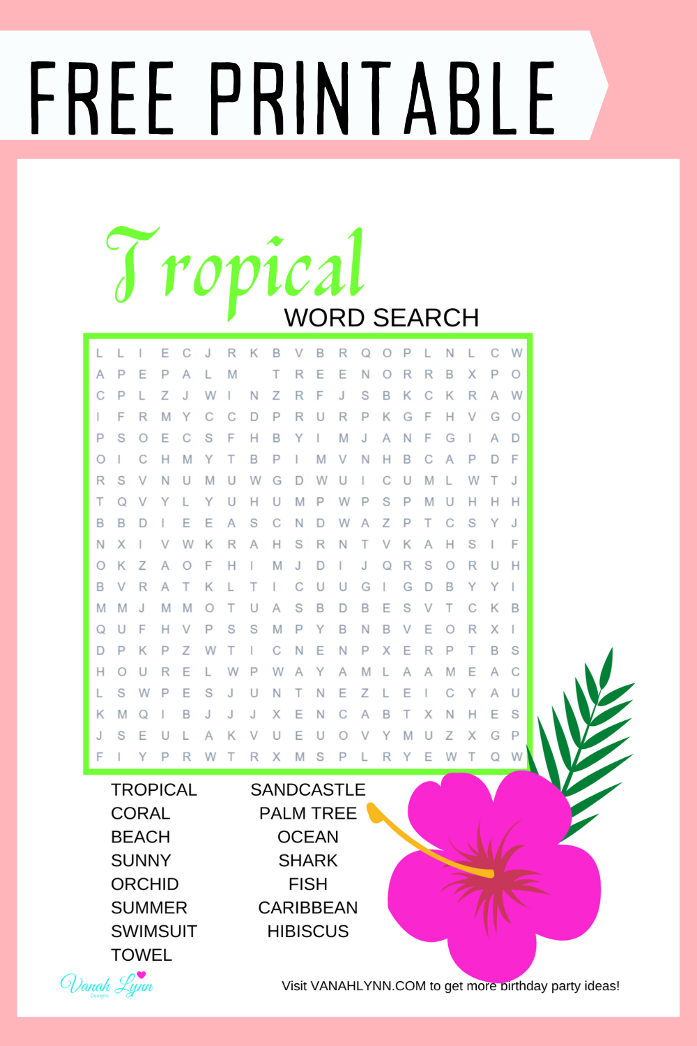 free printable tropical themed word find for kids