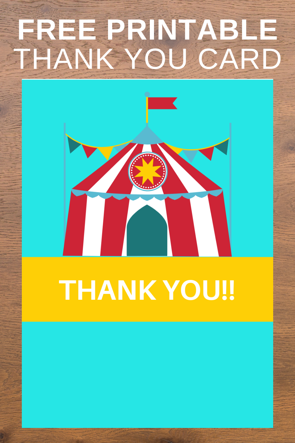 circus themed thank you card free printable for kids