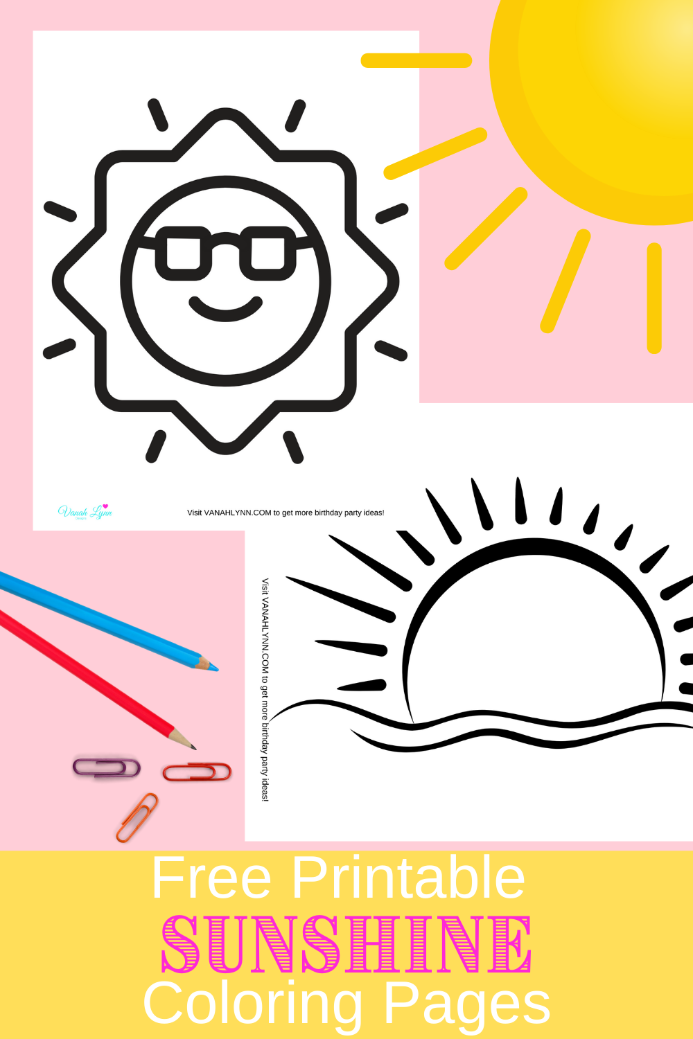 sun coloring pages for a sunshine birthday party