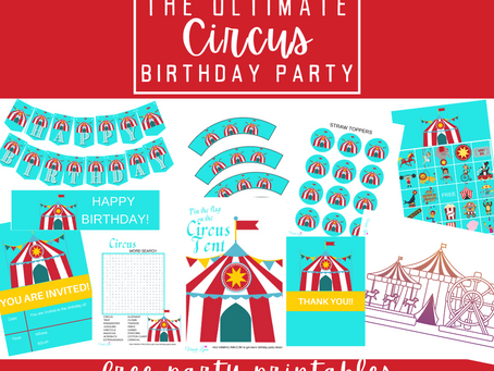Circus Party Kit | Free Printable Circus Birthday Party Ideas | DIY Circus Party Decorations & Games