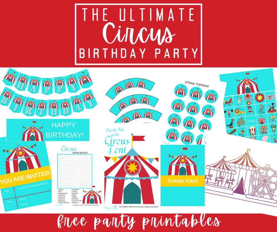 free printable circus birthday party kit