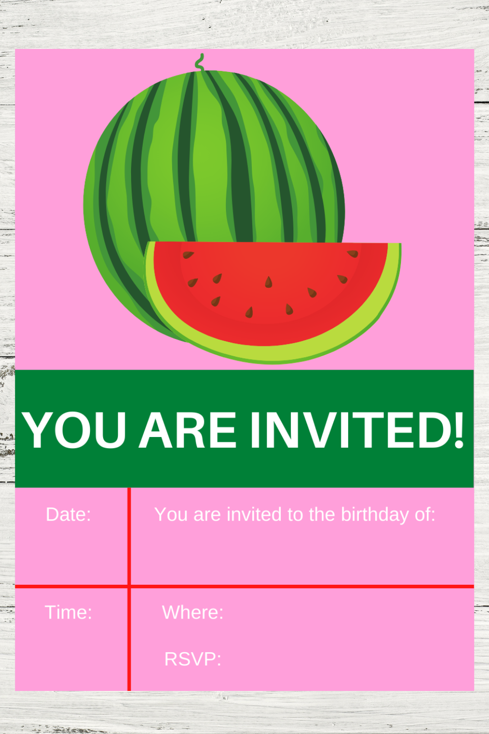 free download: watermelon birthday party invitations