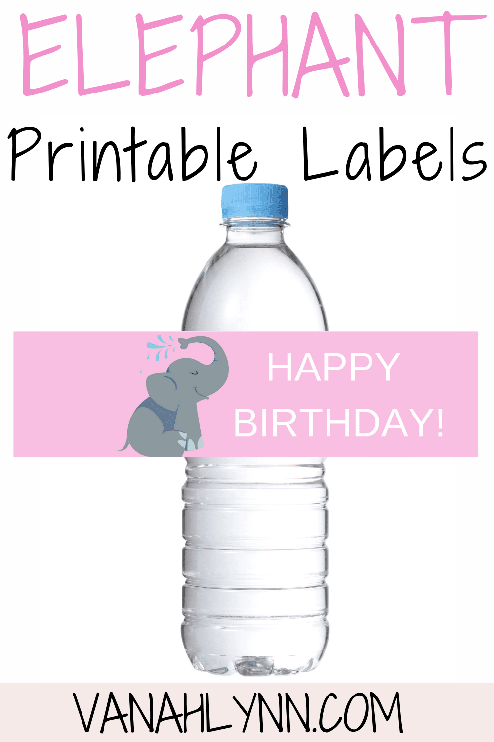elephant firs birthday party decorations - water bottle labels