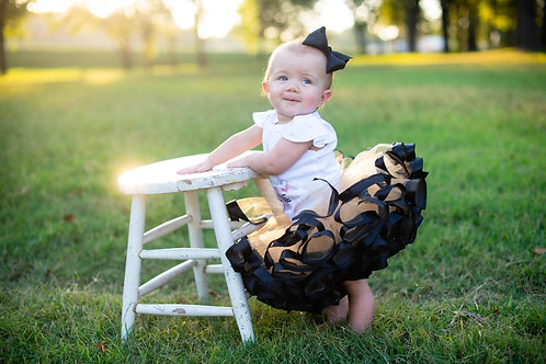 black and gold birthday tutu on toddler