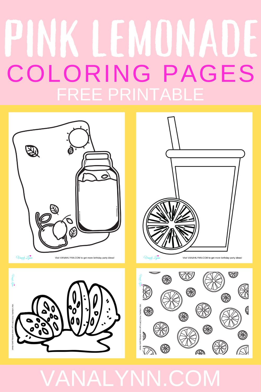 free printable pink lemonade coloring sheets for toddlers