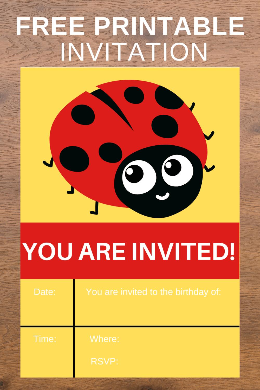 ladybug birthday invitation card